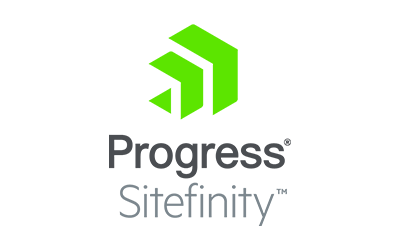 green chevrons and text: Progress Sitefinity