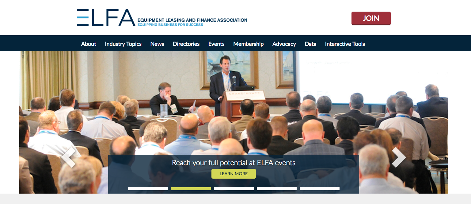 ELFA redesigned homepage