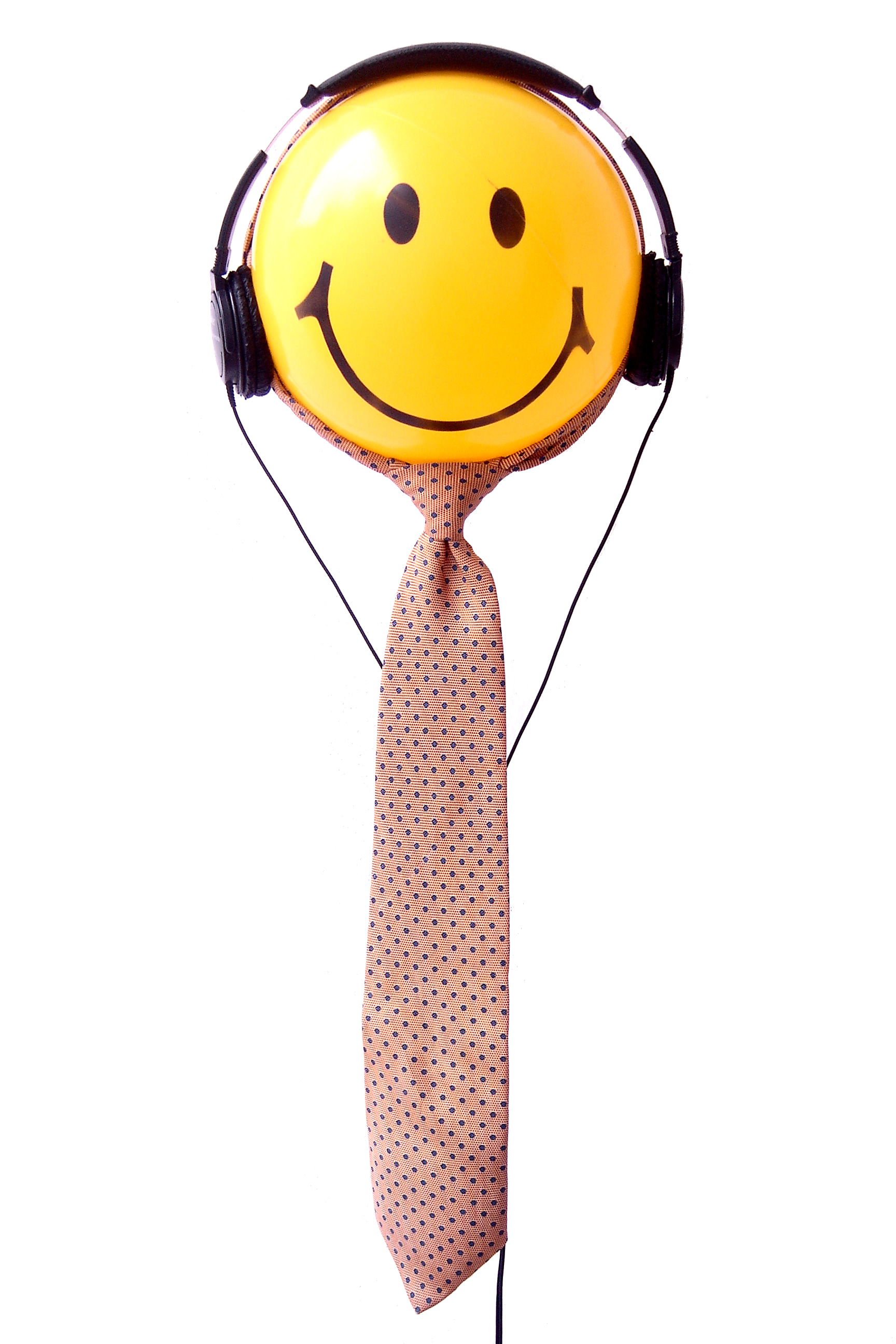 Smiley-face wearing headphones and a tie