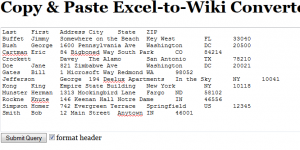 Excel-to-Wiki screenshot 2