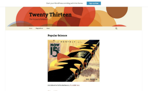 Twenty Thirteen Home page view