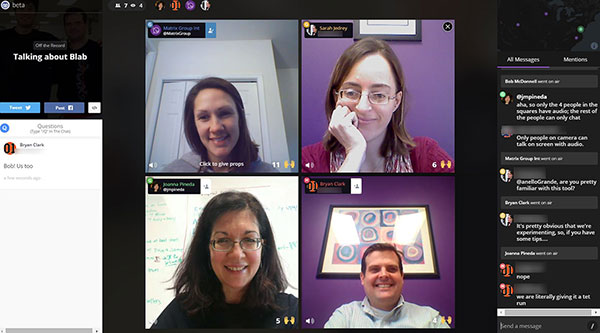 Screencap of Blab conversation
