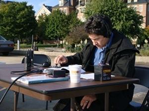 Maki transmitting via Morse Code during ham radio event