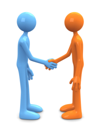 Two figures shaking hands