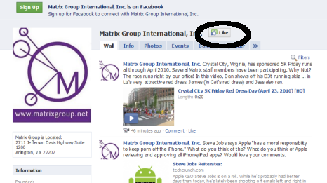 Image of Matrix Group Page on Facebook