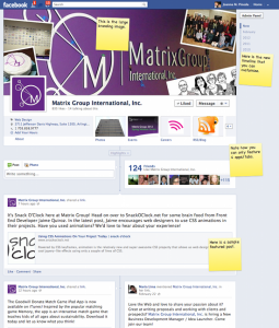 Screen shot of the new Matrix Group Facebook Timeline Page
