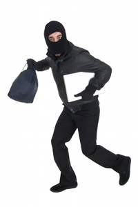 Photo of a thief running away with a purse and a laptop