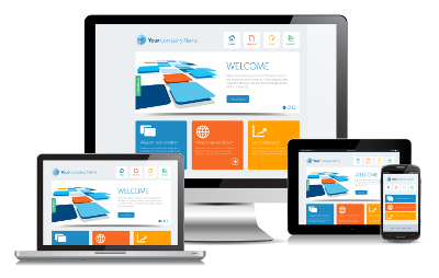 Responsive design illustrated on multiple devices