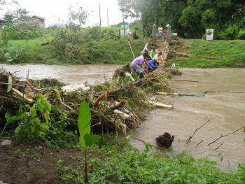 Photo of the GEH footbridge wiped out by Hurricane Haiyan