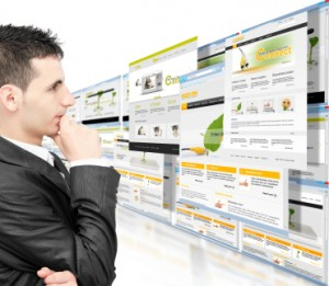Man looking at web pages